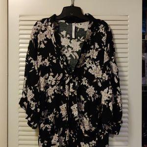 Spiritual Gangster Tie Front Floral Kimono Cardi